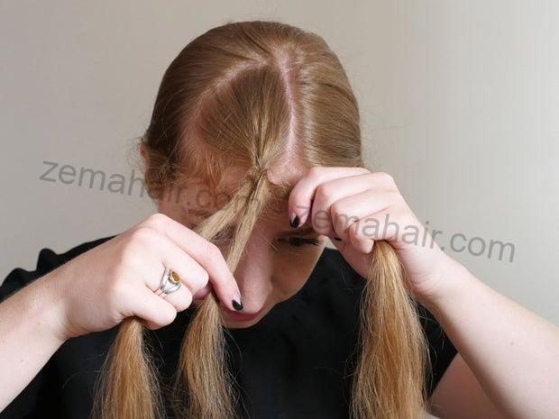 Lặp lại các phần tóc đan chéo nhau