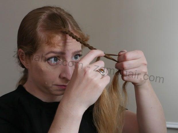 Đan chéo cho đến hết phần dài của tóc