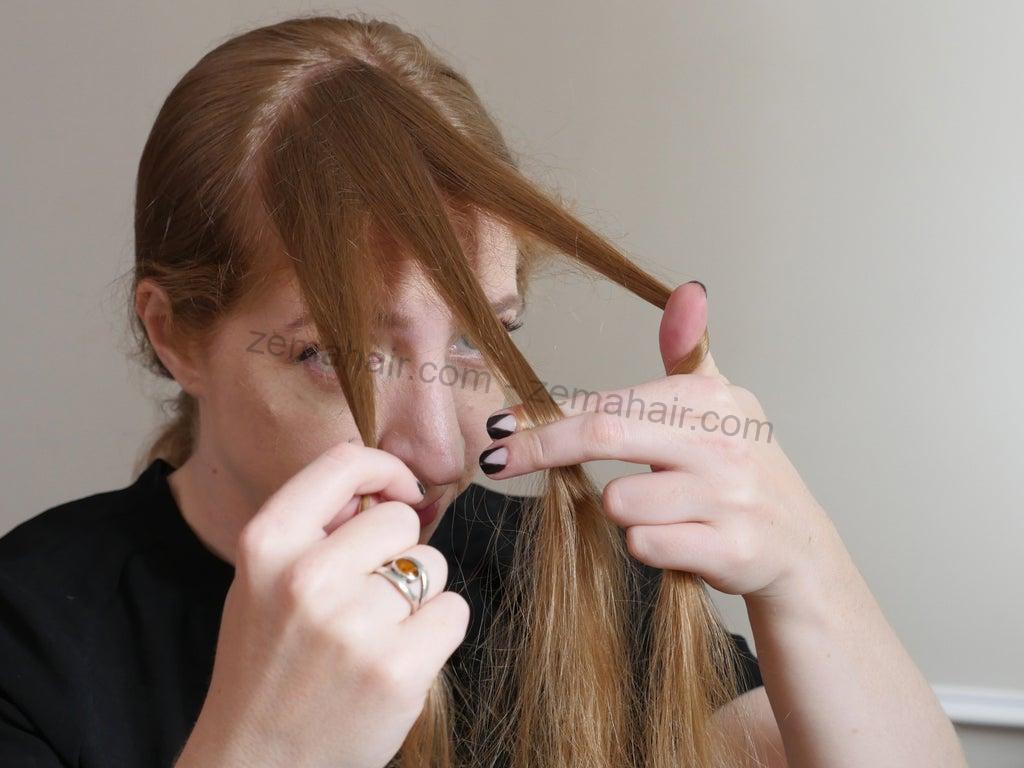 Dùng ngón tay chia phần tóc