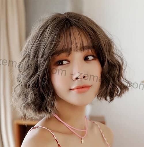 Mẫu tóc ngắn xoăn Hàn Quốc cho cô nàng dễ thương