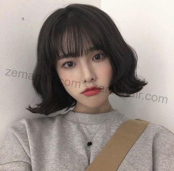 Mẫu tóc ngắn xoăn nhẹ Hàn Quốc dễ thương