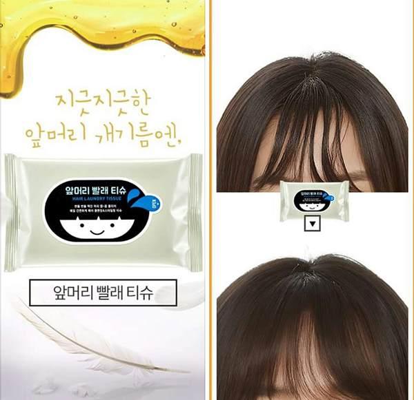 Dùng giấy thấm dầu để hút bớt lượng dầu thừa đọng trên tóc mái. Đem lại tóc mái khô thoáng.