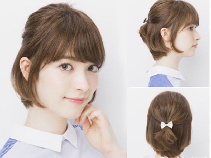 Tóc ngắn buộc nửa đầu rất dễ thương