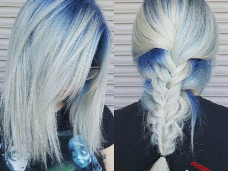 Tóc bạch kim highlight xanh dương xuất sắc