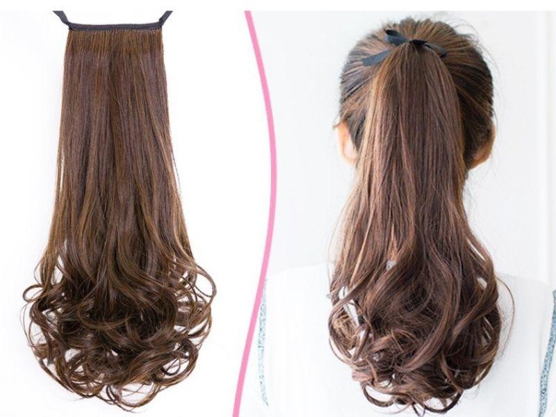 Mái tóc giả buộc đuôi xoăn xù tự nhiên