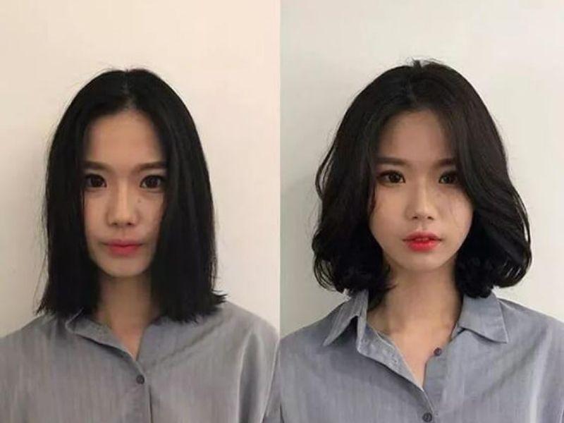 Mái tóc sau khi được uốn phồng chân tóc