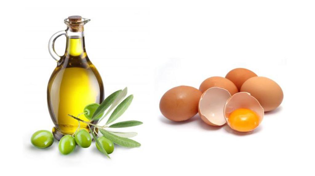 Dưỡng tóc bằng mặt nạ dầu oliu và lòng trắng trứng.