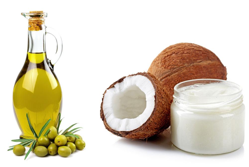 Phục hồi tóc bằng dầu ô liu và dầu dừa.
