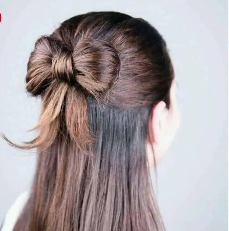 Buộc nơ chắc chắn bằng mái tóc thật.