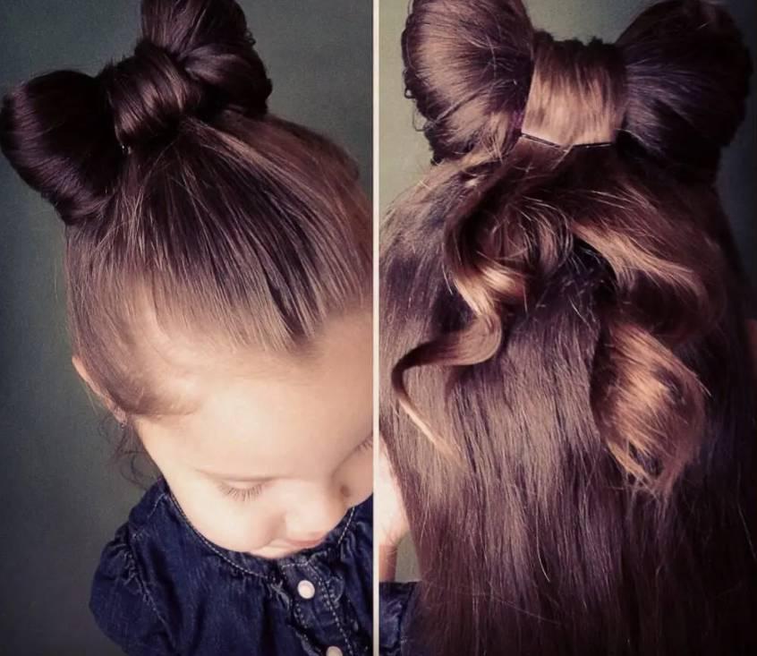 Kiểu tóc buộc nơ cho bé gái gọn gàng.