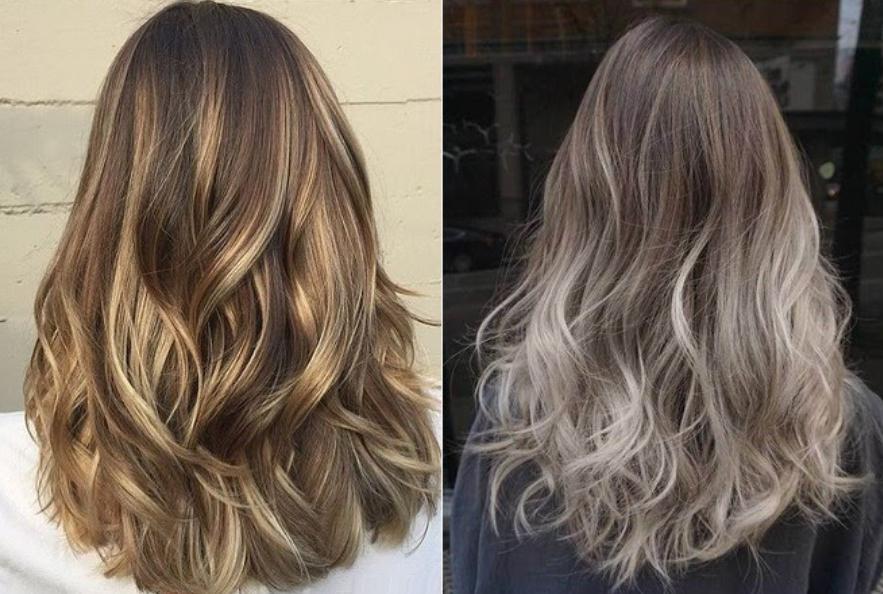 Mái tóc màu nâu lạnh highlight