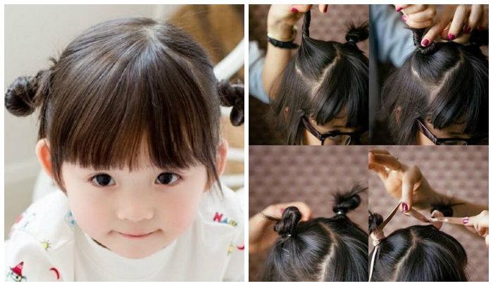 Dùng dây buộc tóc nhẹ nhàng cho bé gái.