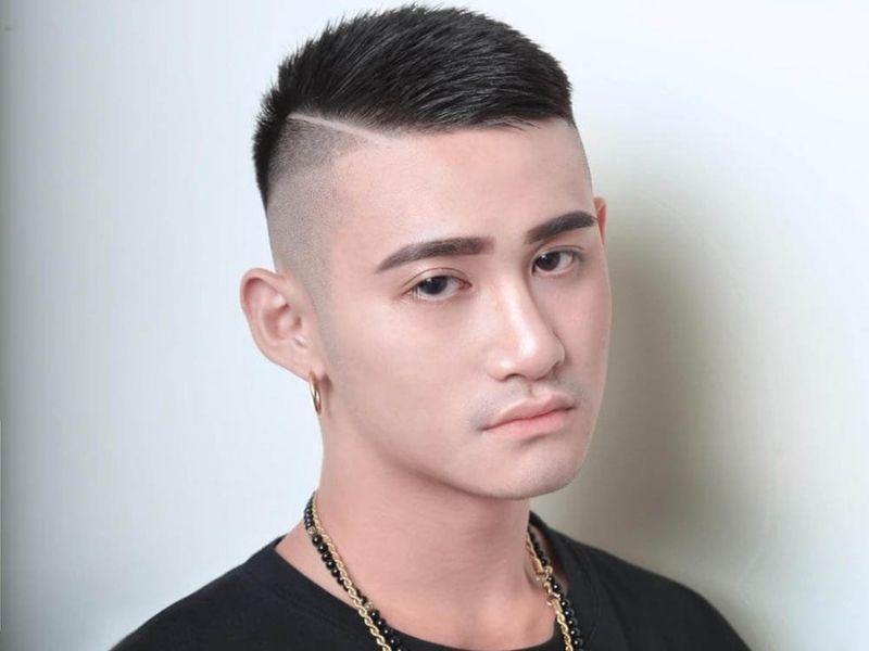 Kiểu cắt đầu đinh kết hợp mái xéo