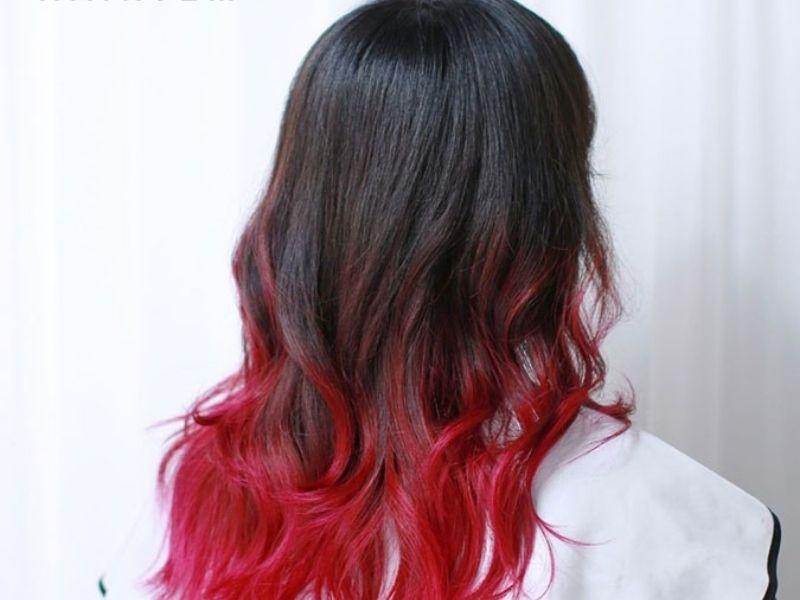 Tóc ombre đỏ cho bạn nữ ưa màu tóc nổi bật
