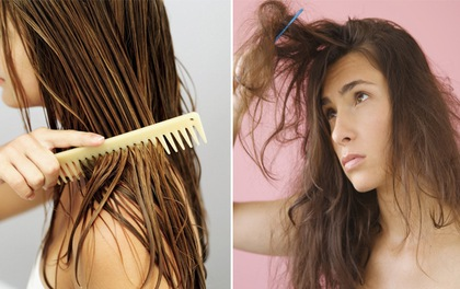 Đi ngủ với tóc ướt dễ làm tóc bị xơ rối