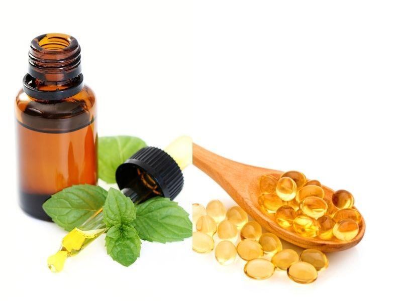 Vitamin E mix tinh dầu bạc hà để dưỡng tóc mái